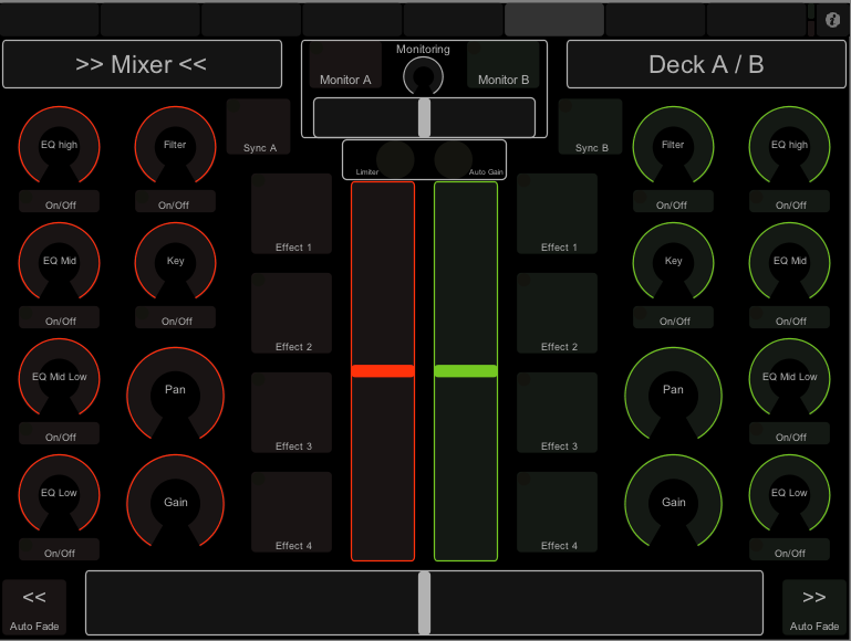 Mixer for Deck A and B